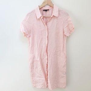 Lafayette blush pink linen button down dress S